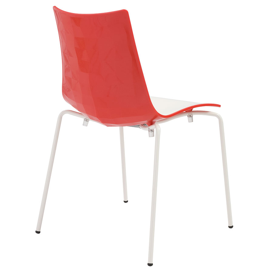 Zonda Modern Red and White Side Chair - Back View