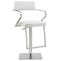 Zuri Modern White Adjustable Stool by Whiteline