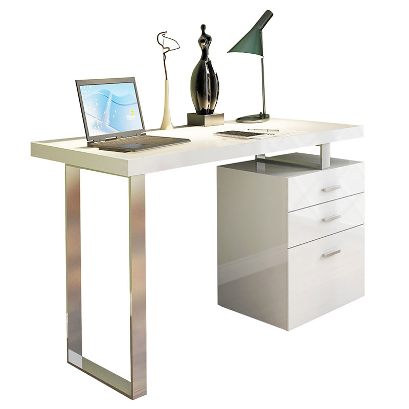 Call To Order Addison Modern White Desk With File Cabinet