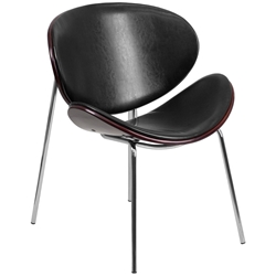 Adler Black Leather Mahogany Bentwood Modern Chair