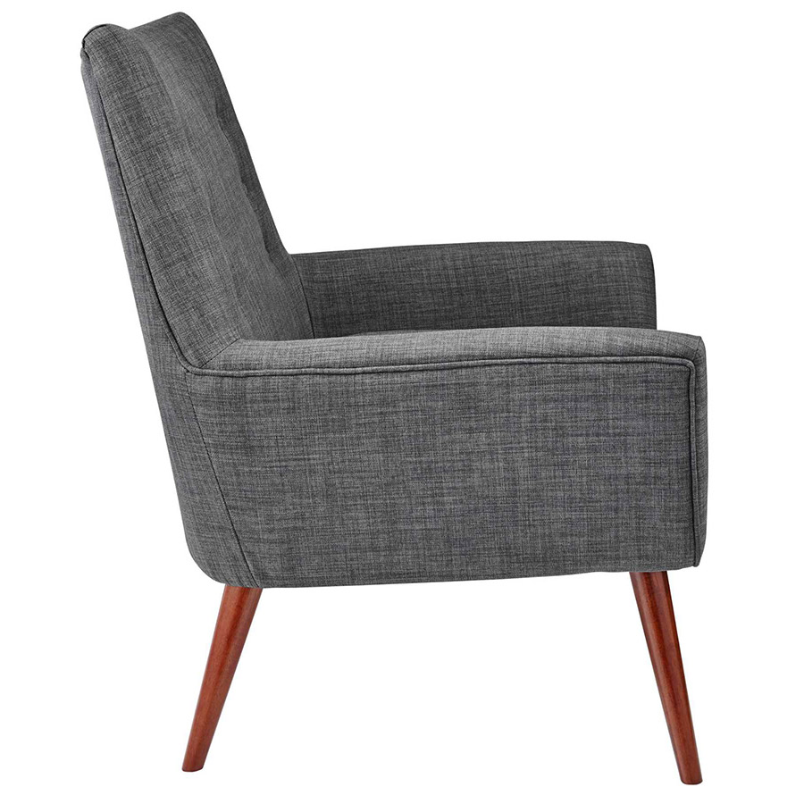 Anderson Modern Lounge Chair in Charcoal - Side View