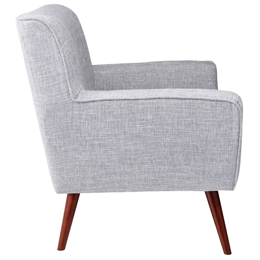 Carson Modern Lounge Chair In Light Grey Side View