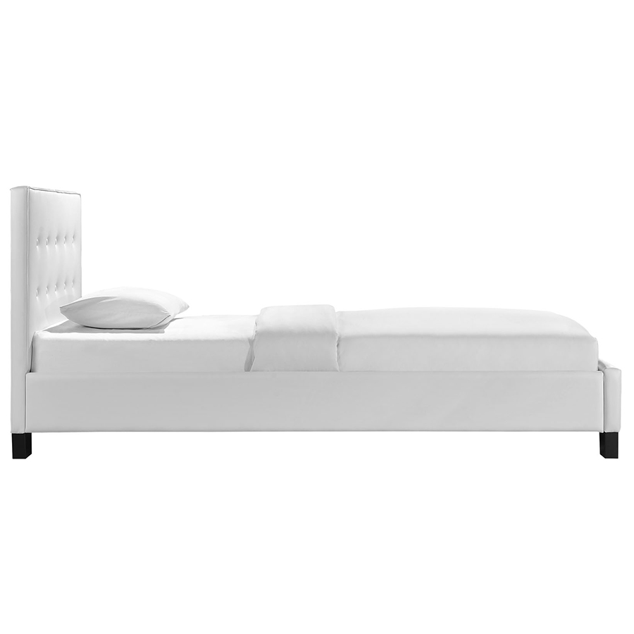 Twin bed side view -  Carter White Modern Twin Bed Side View