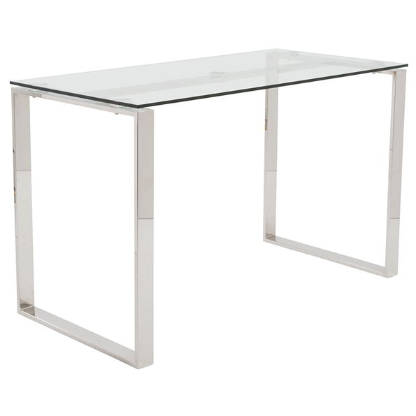 Diego Modern Chrome + Glass Desk