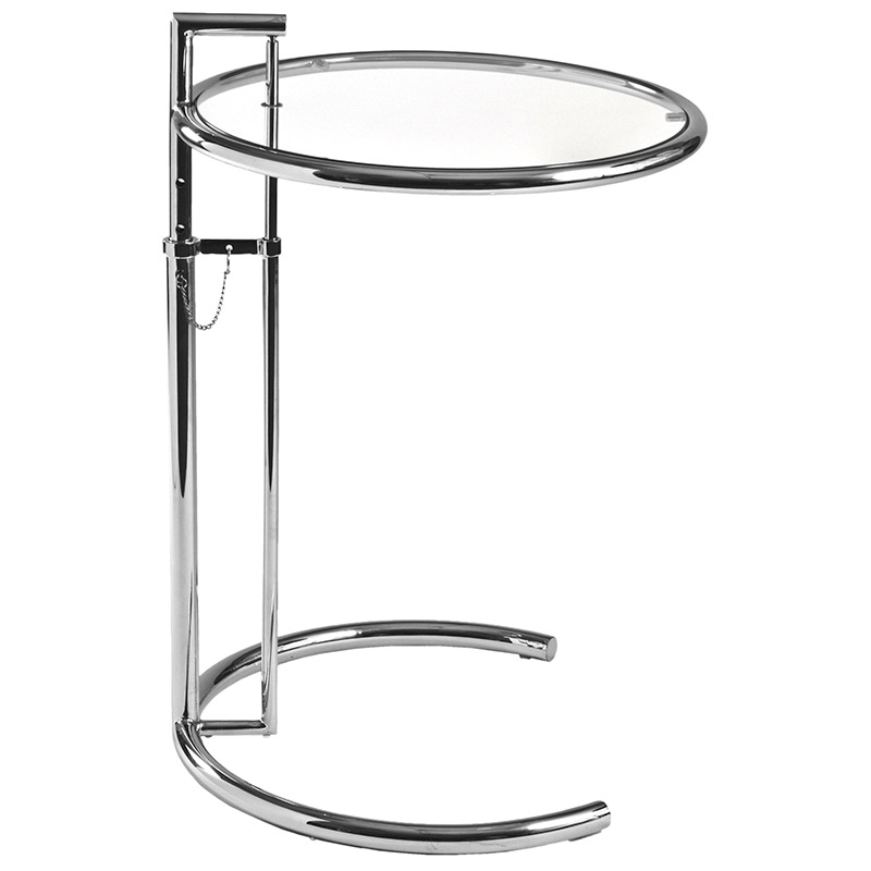Eileen Gray Modern Classic Table. Eileen Gray Side Table. Chrome + Glass