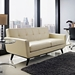 Empire Beige Leather Contemporary Loveseat