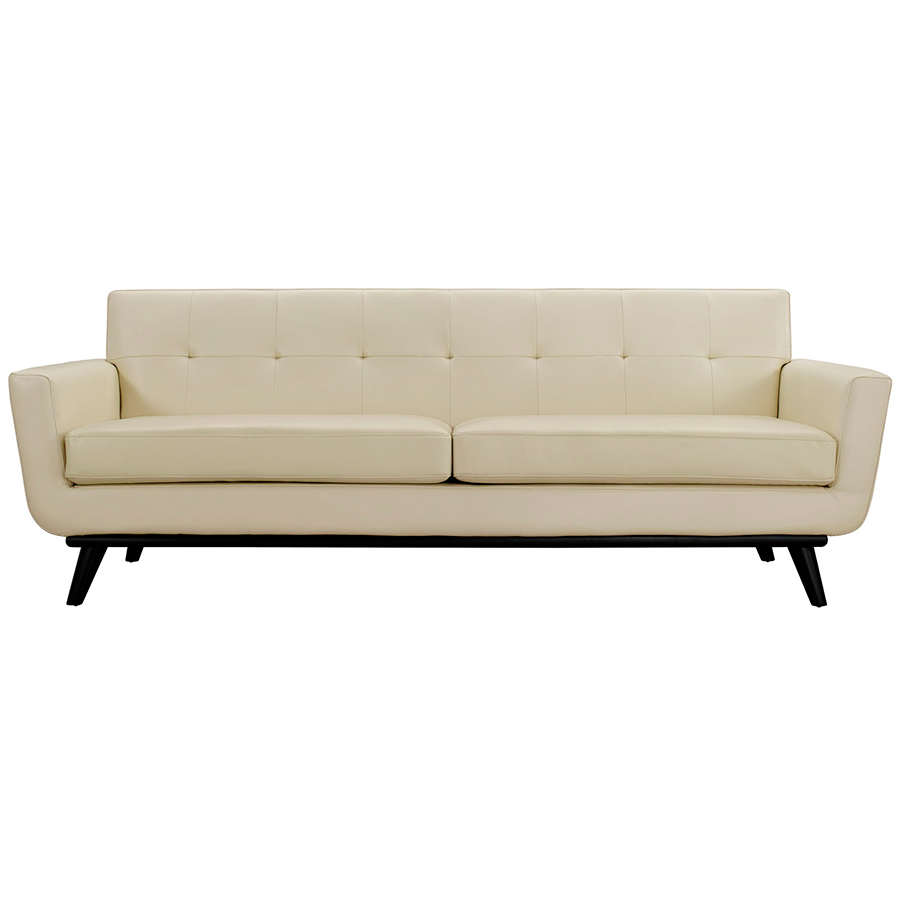 Modern beige sofa clifford modern craftsman walnut wrap for Modern loveseat