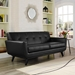 Empire Black Leather Contemporary Loveseat
