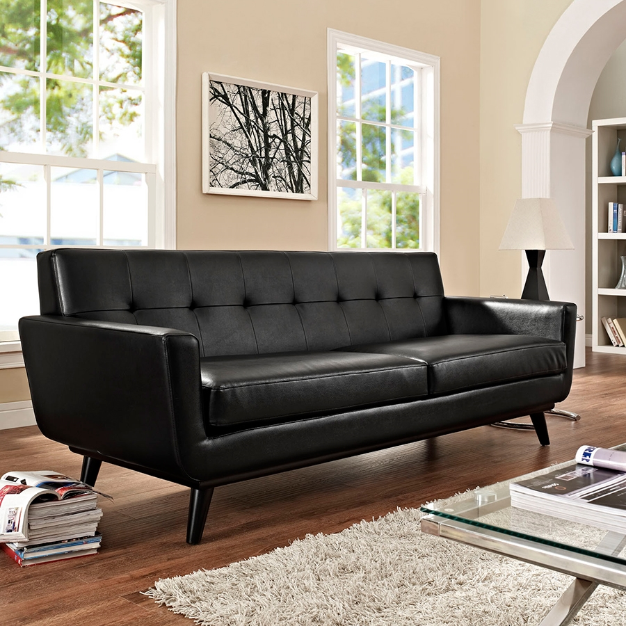... Empire Black Leather Contemporary Sofa