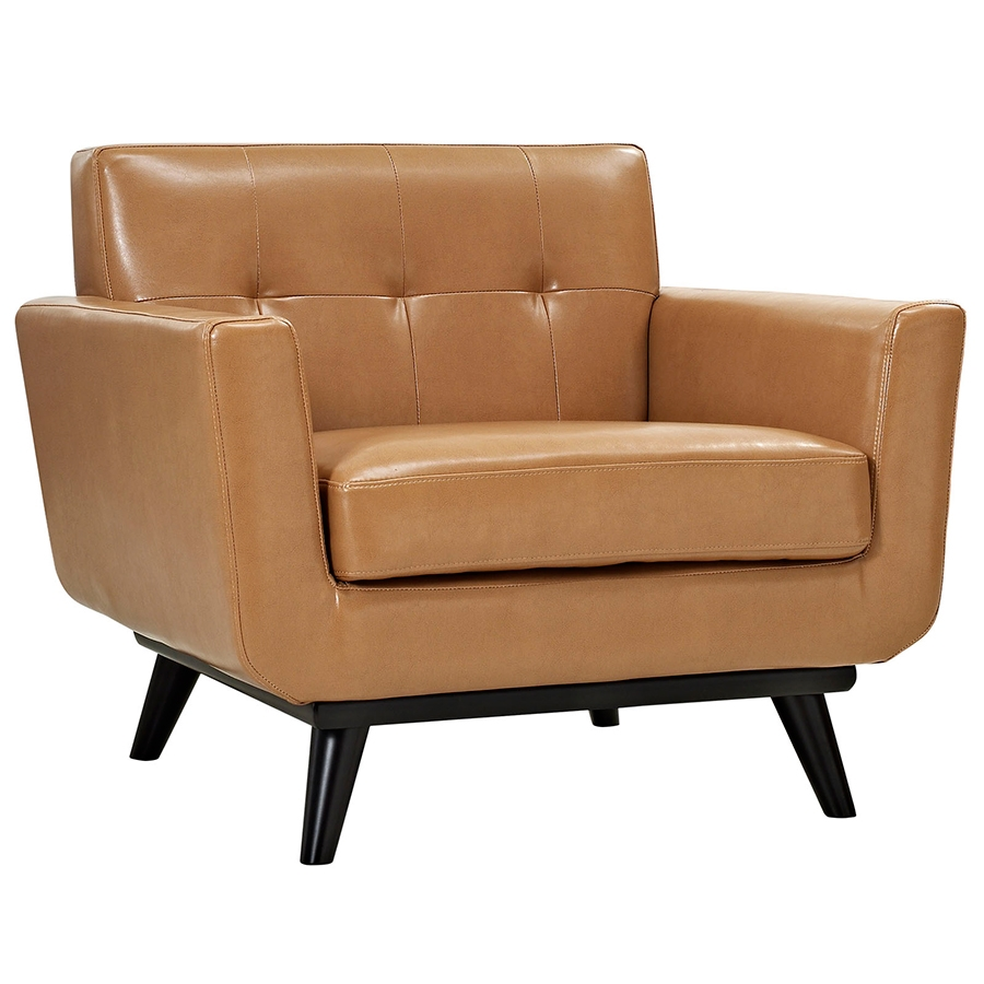 empire modern tan leather chair  eurway furniture - empire tan bonded leather modern lounge chair