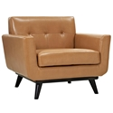 Empire Tan Bonded Leather Modern Lounge Chair