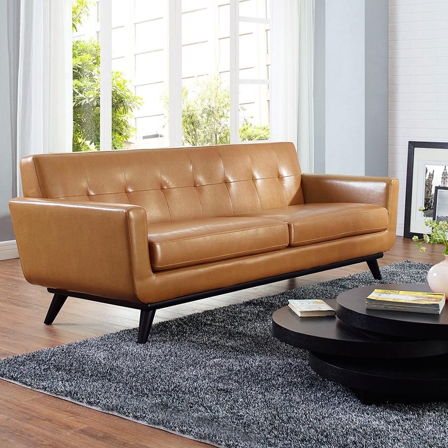 Empire Tan Leather Contemporary Sofa
