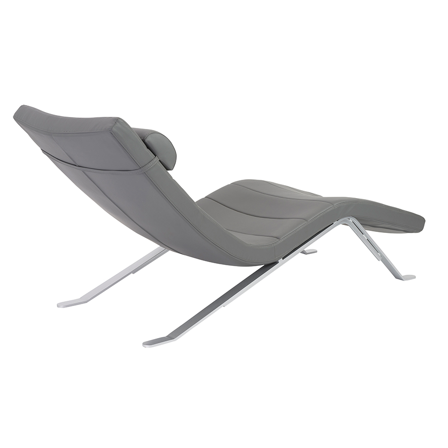 gillian modern gray chaise lounge back view