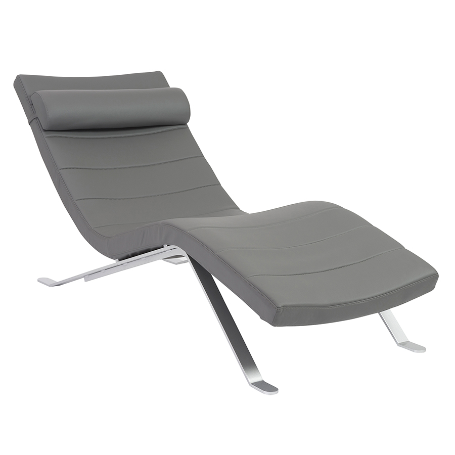 Gillian modern gray chaise lounge eurway furniture for Chaise longue moderne