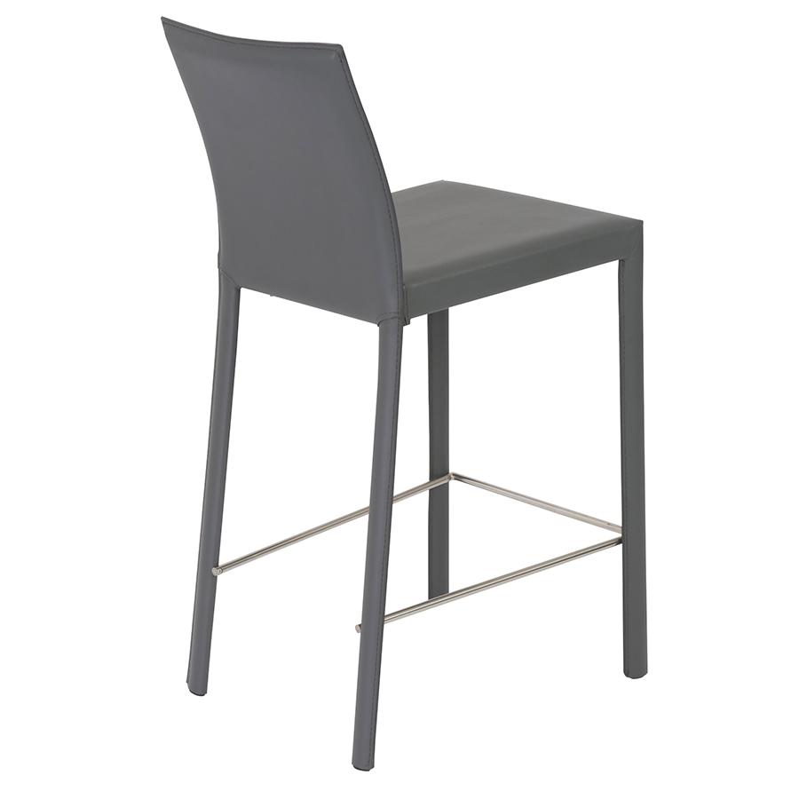 heather gray modern counter stool back view