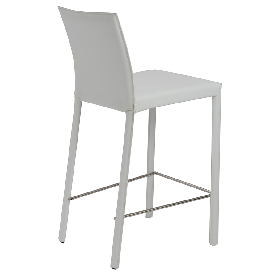 heather white modern counter stool - back view
