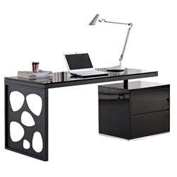 Karnes Modern Black Desk with File