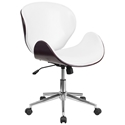 Knox White Leather Mahogany Bentwood Office Chair
