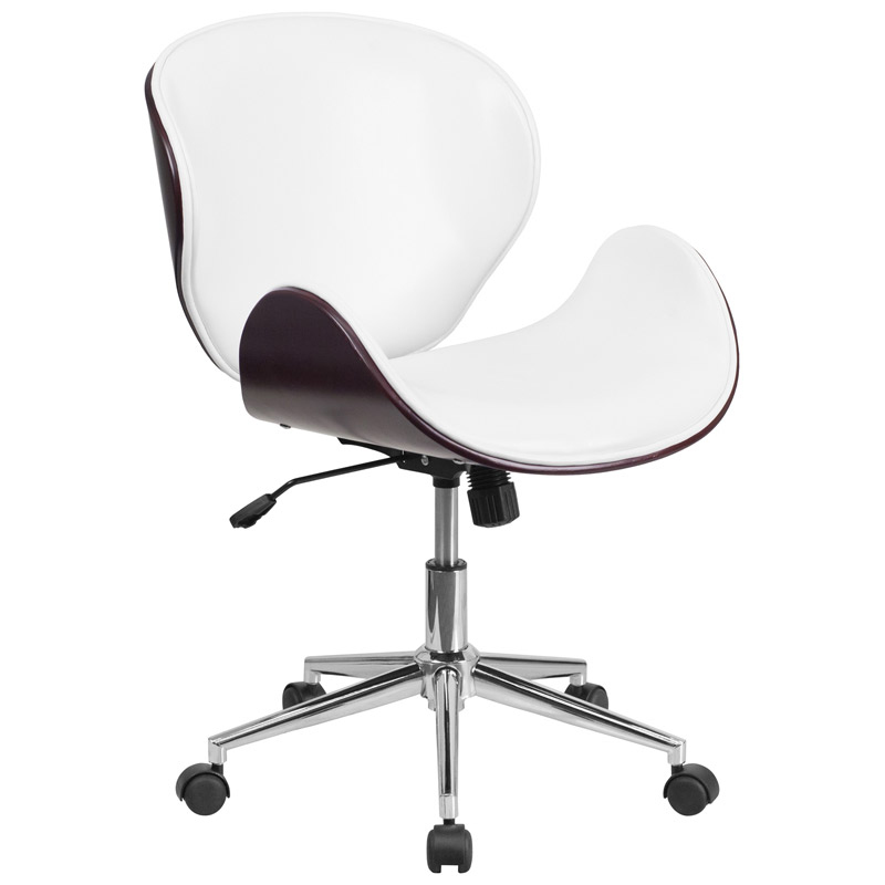 Call To Order · Knox White Leather Mahogany Bentwood Office Chair