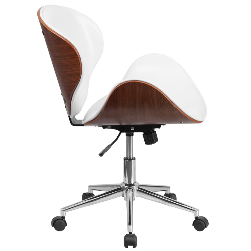 Knox White Leather Walnut Bentwood Office Chair Side View