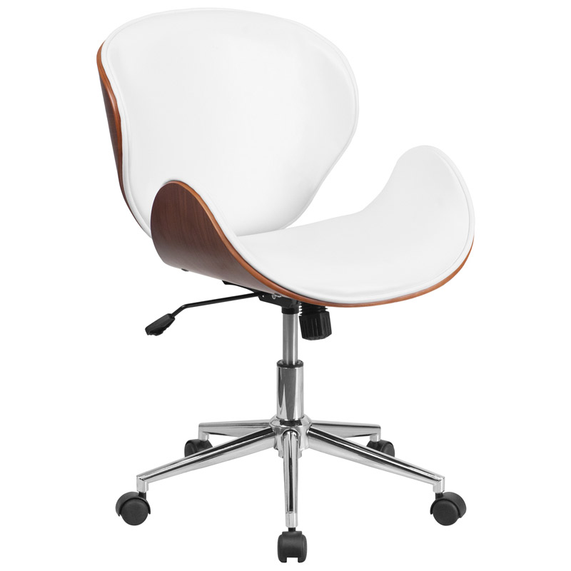 Call To Order Knox White Leather Walnut Bentwood Office Chair