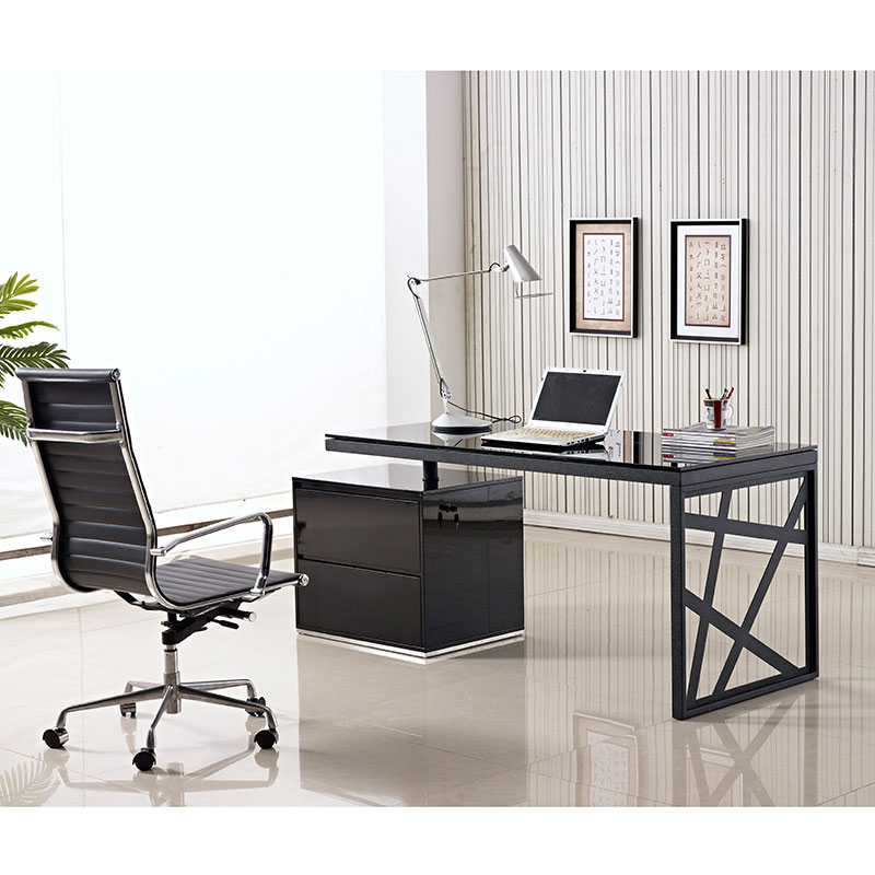 Krauss Contemporary Black Desk With File