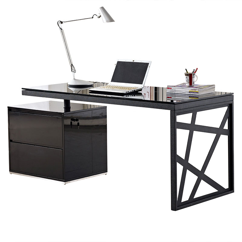 Krauss Modern Black Desk With File