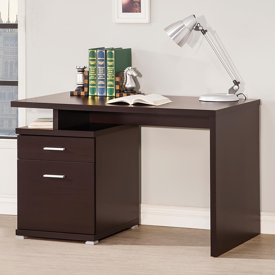 Madsen Contemporary Cappuccino Desk with File