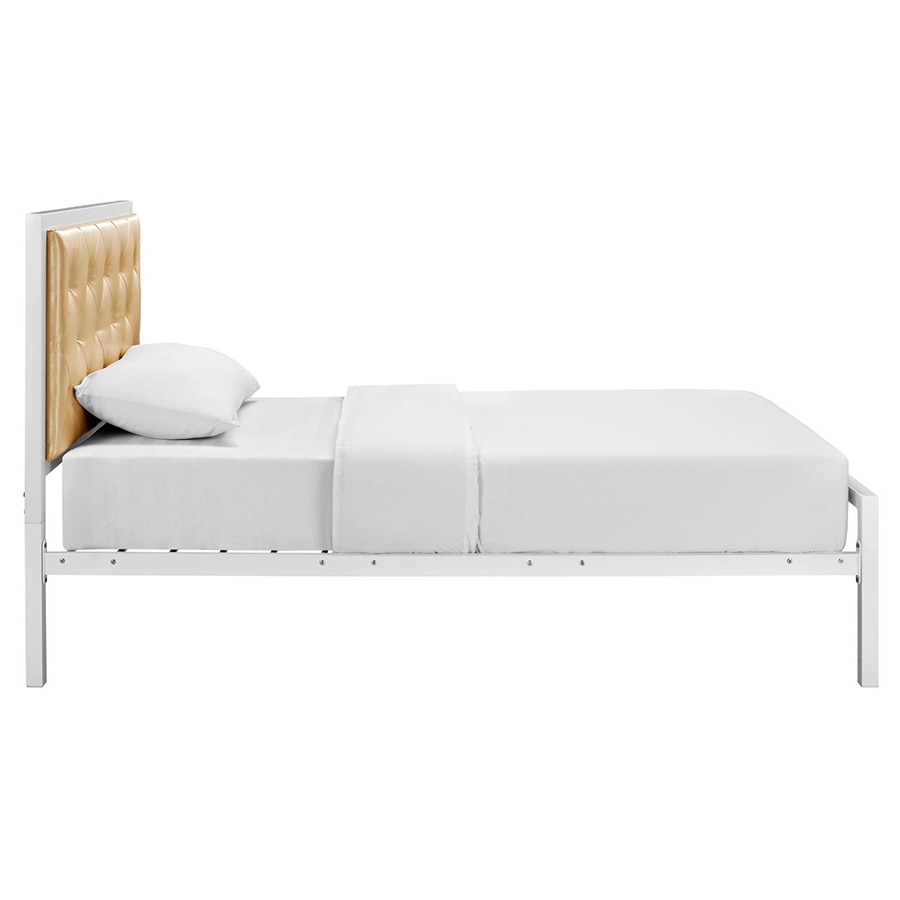 Twin bed side view -  Myles Champagne Modern Twin Bed Side View