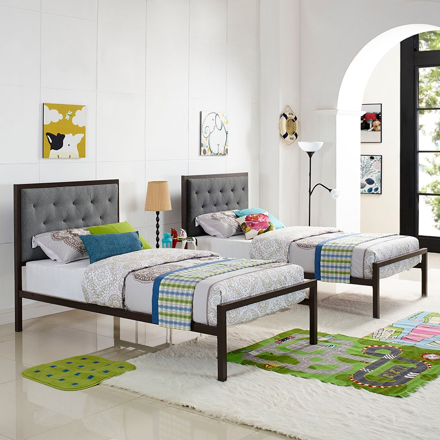 Myles Gray Twin Bed