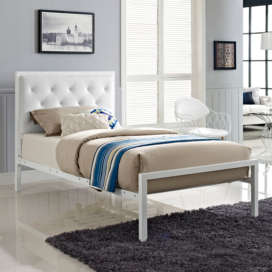 White Twin Bed Frames modern kids beds   myles white twin bed   eurway
