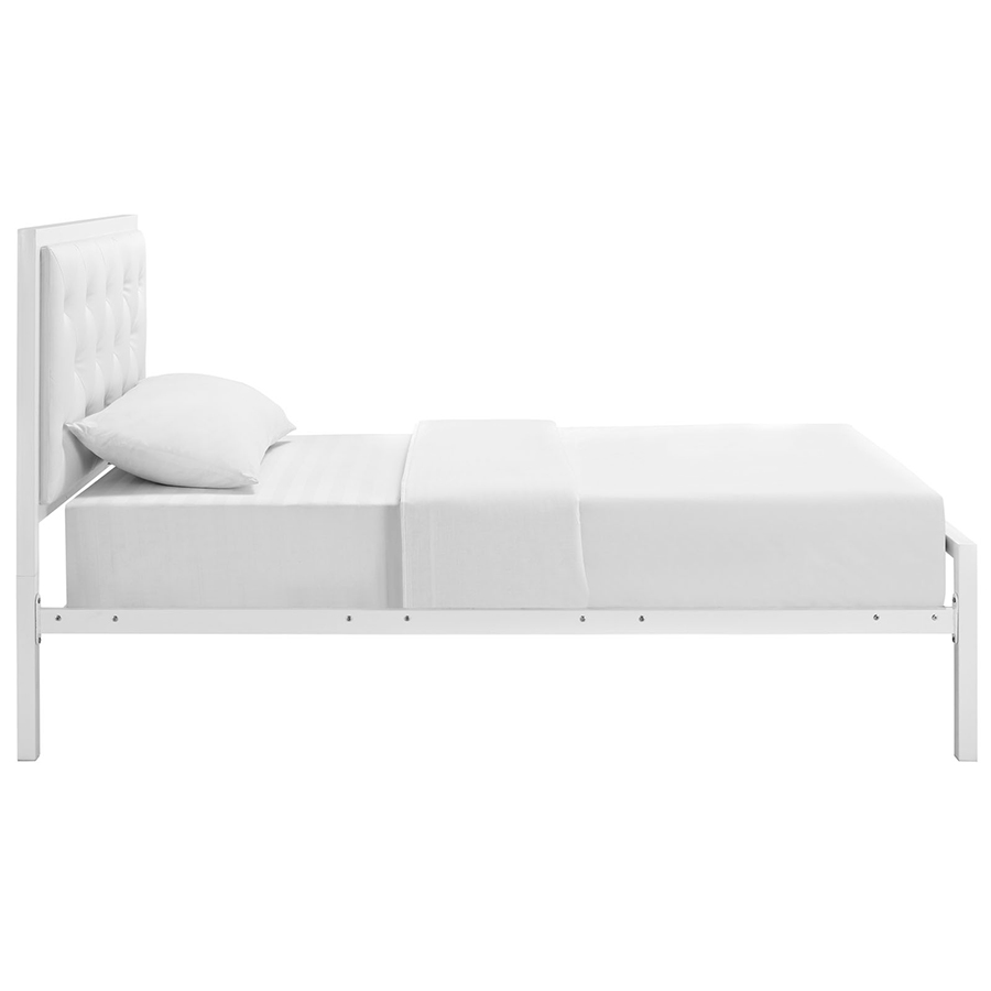 myles white modern twin bed side view