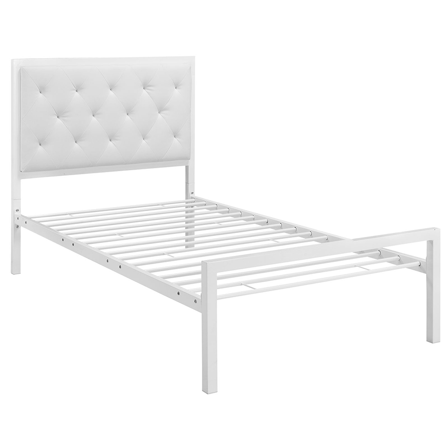 myles white modern twin bed metal slats - White Twin Bed Frame