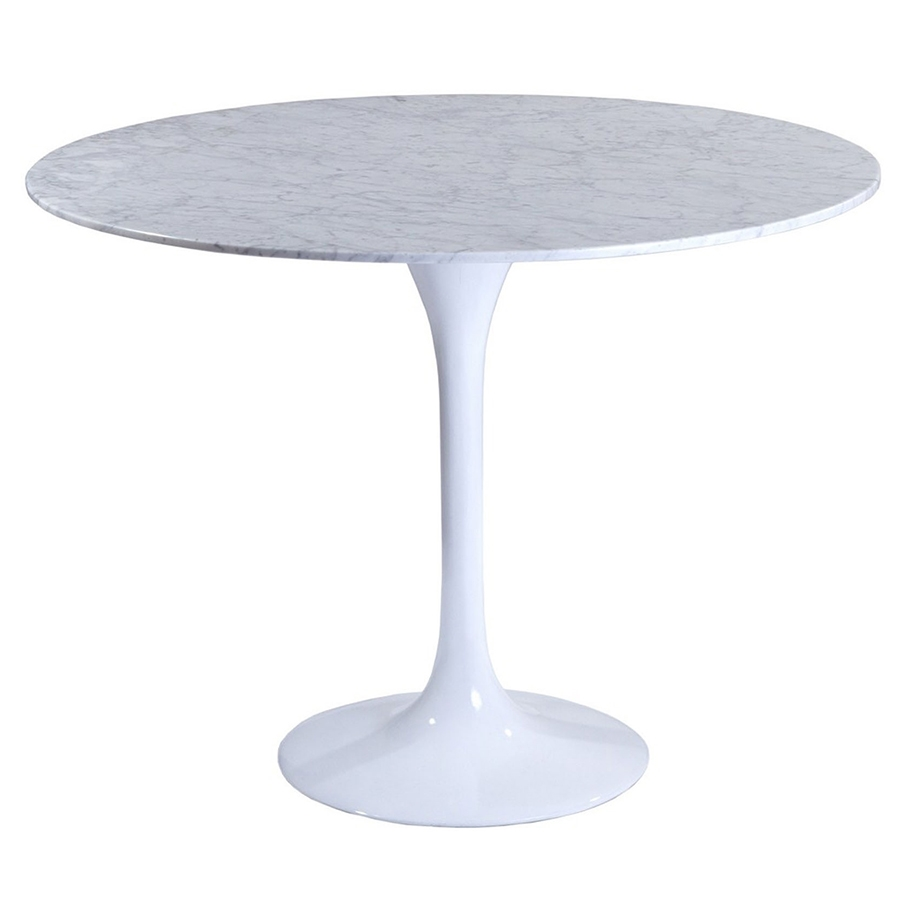 Call To Order Odyssey 36 Inch Modern Round Marble Dining Table White