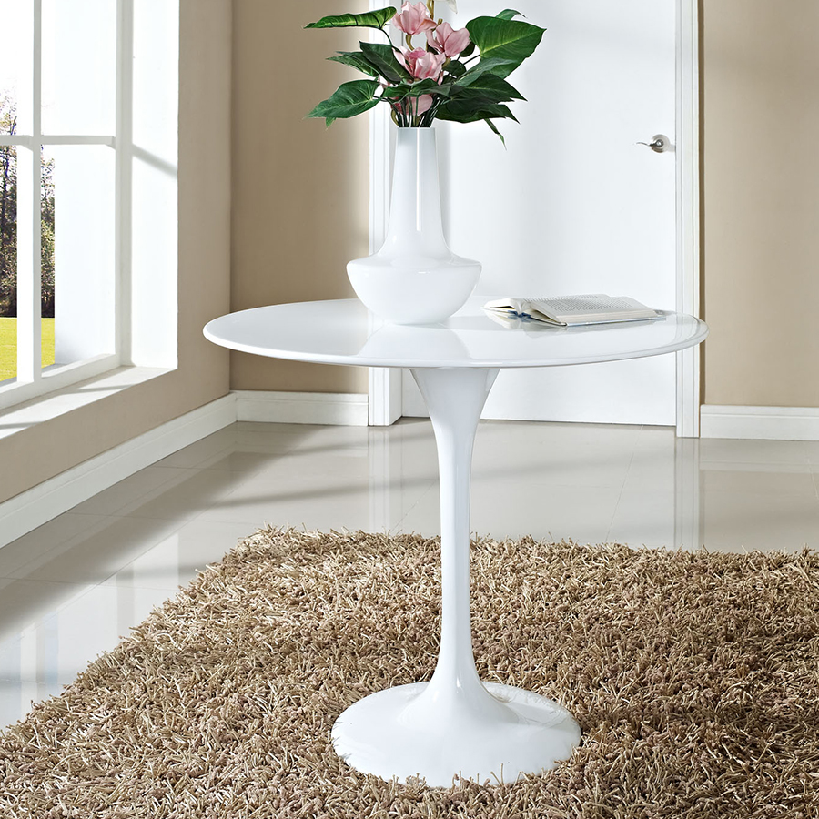 """Odyssey 36"""" Round Modern White Dining Table"""