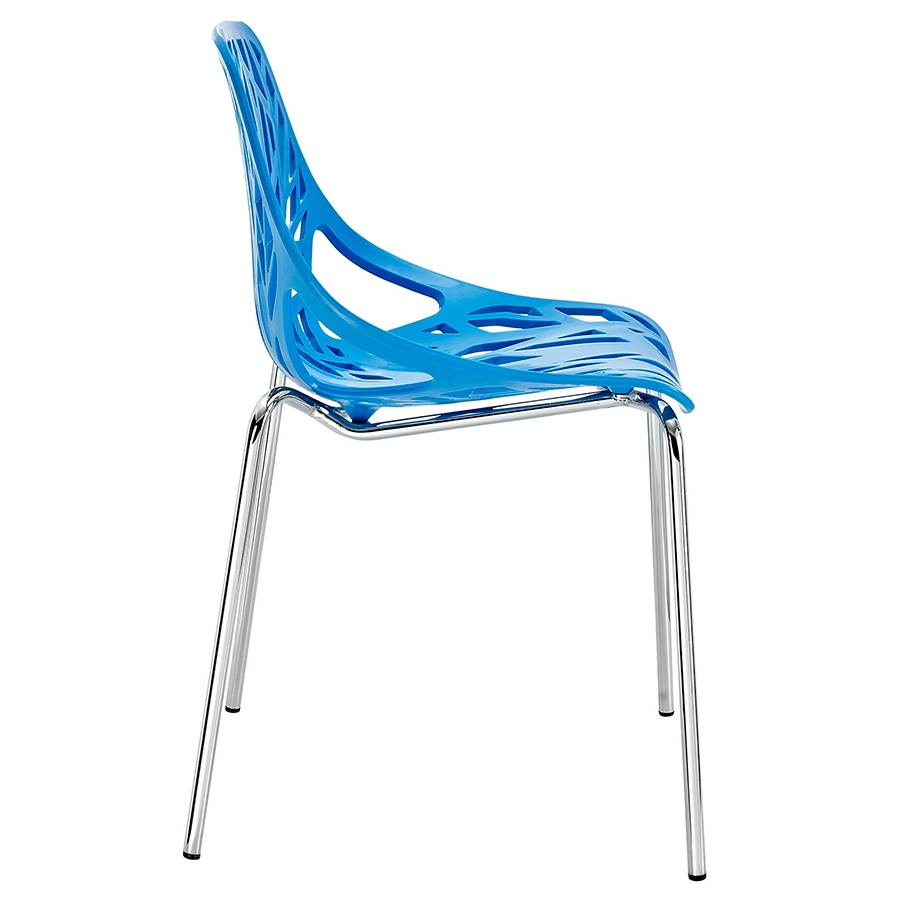 Sequoia Blue Modern Dining Chair - Side View