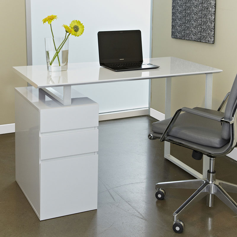 Talia Modern Desk With File In White