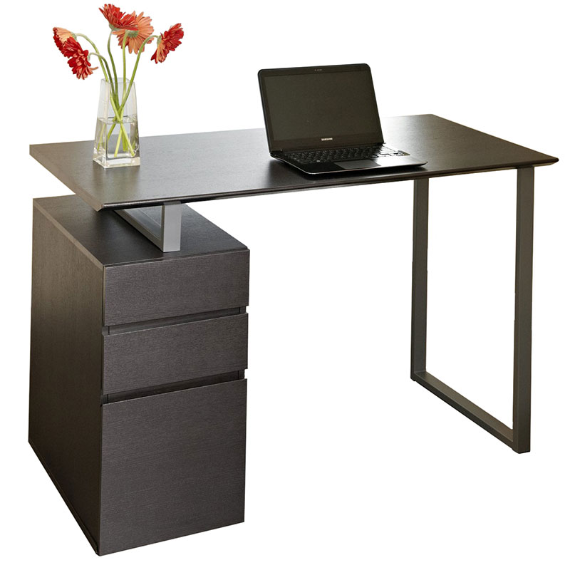 Talia Modern Desk with File in Espresso
