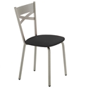 Tommy Dining Chair - Platina Metal w/ Black Vinyl by Amisco