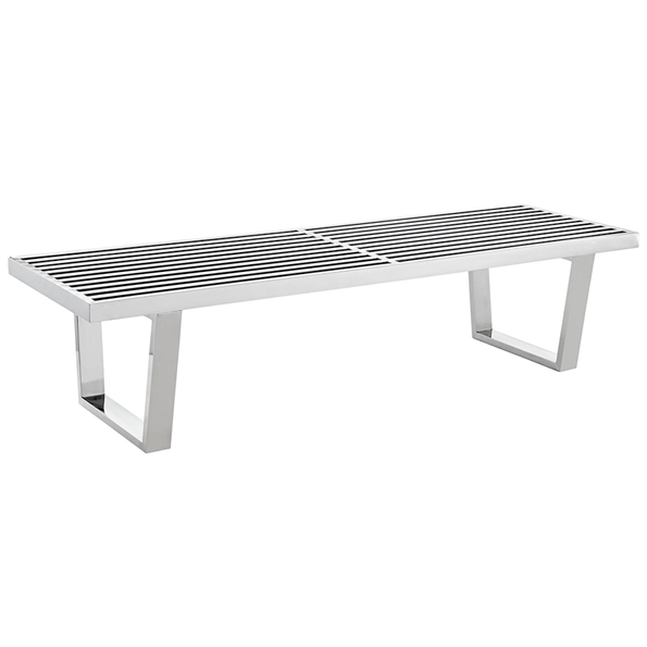 vector 60 inch modern stainless steel bench