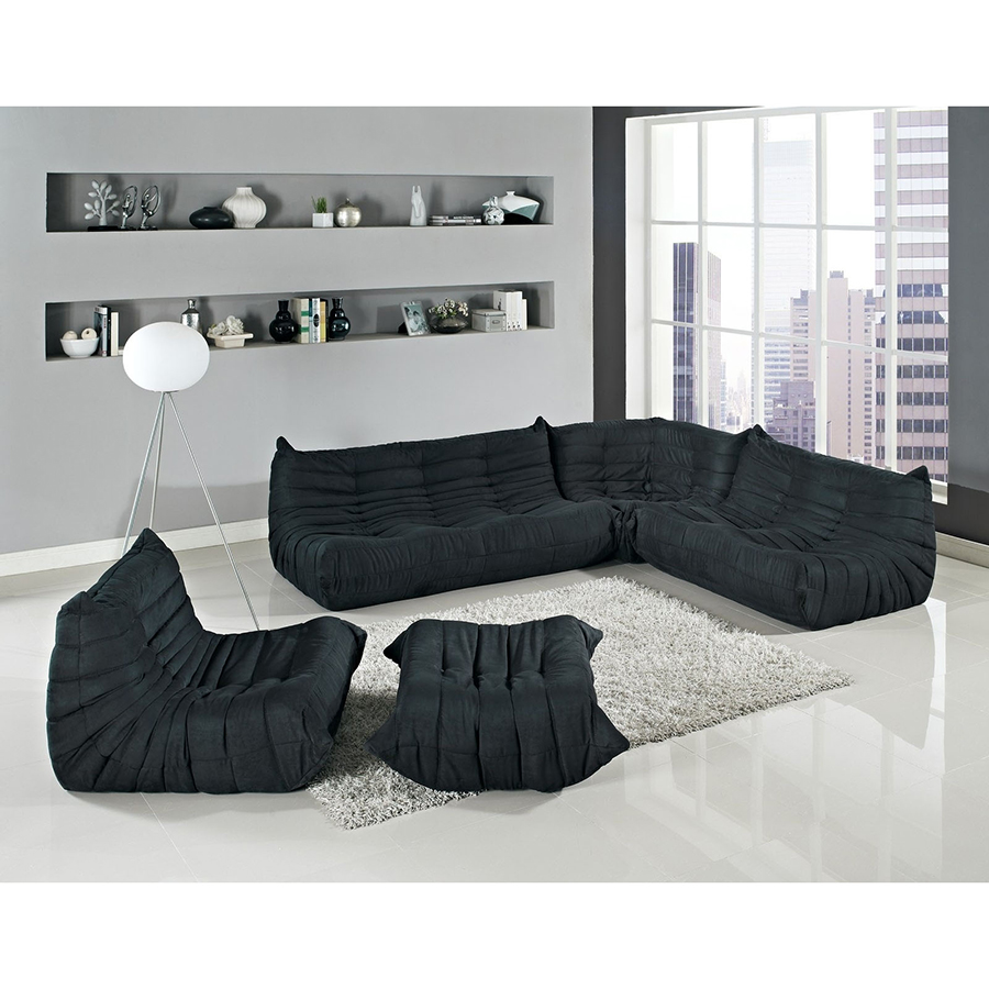 ... Sectional Sofa; Wave Modern Sectional Set In Black ...