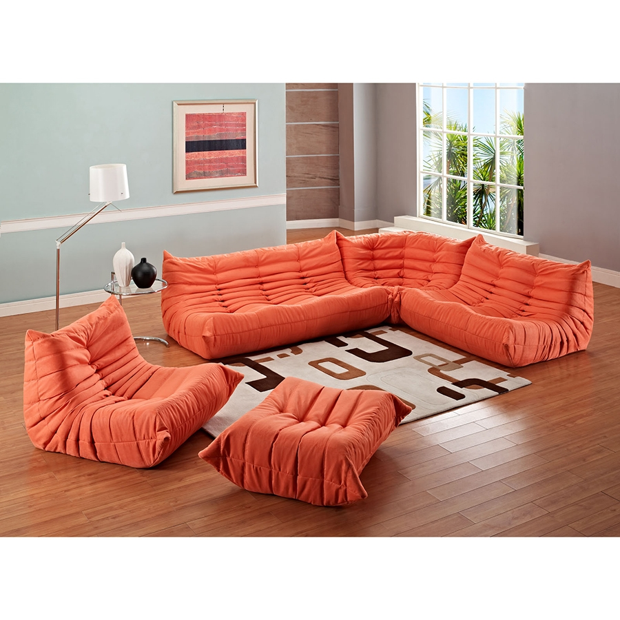 Wave chaise bed price -  Wave Modern Sectional Set In Orange