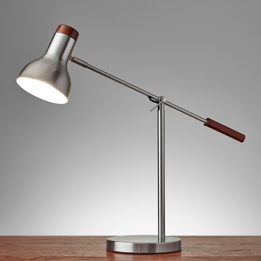 Wilson Contemporary Brushed Steel Desk Lamp