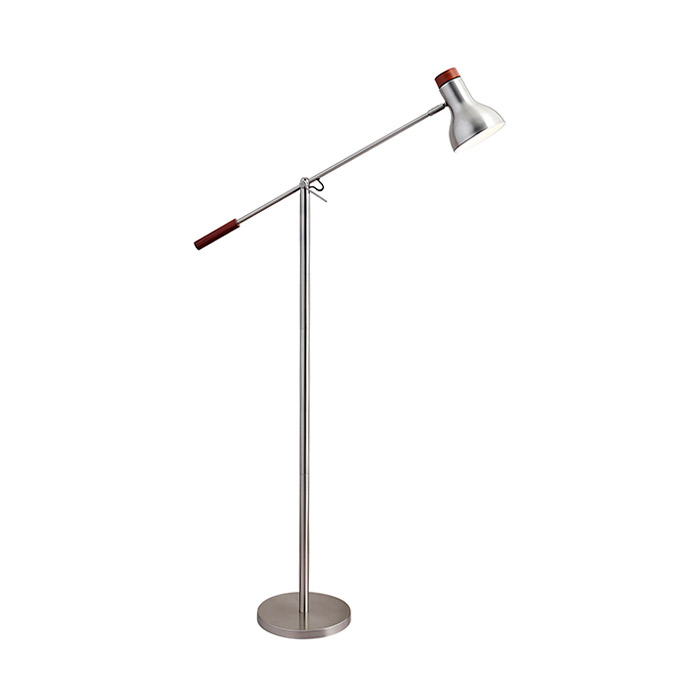 Wilson Brushed Steel Modern Floor Lamp