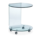 Mandrel Modern Glass End Table on Wheels