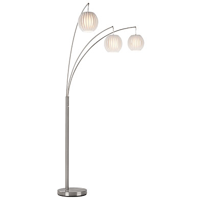 Denali Modern Polished Steel Floor Lamp