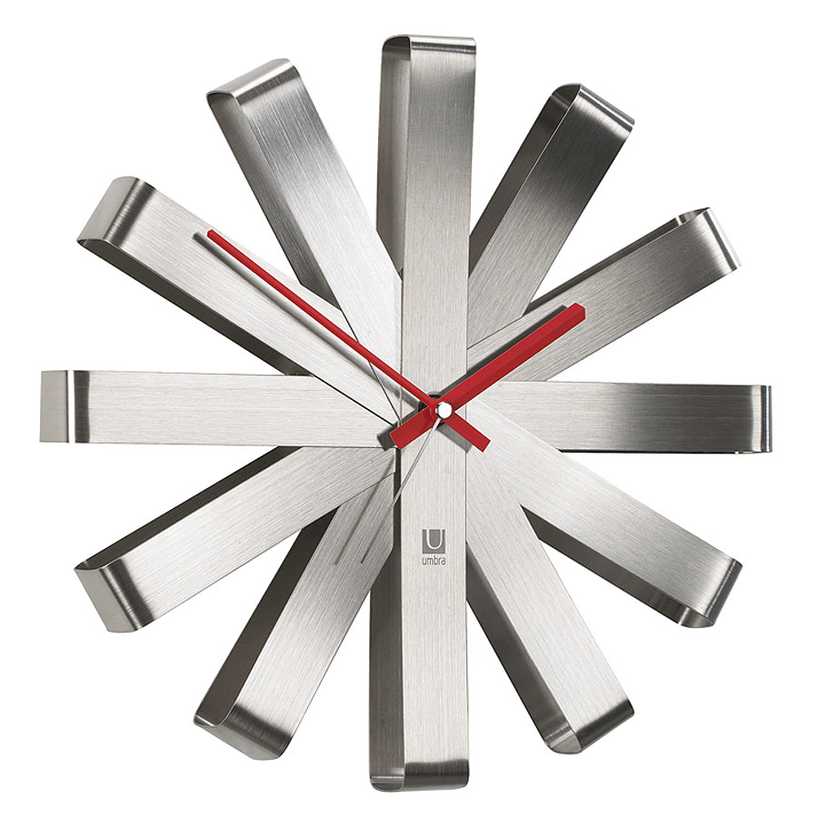 Umbra Ribbon Modern Brushed Steel Wall Clock