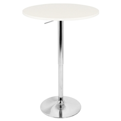 "Arthur 23"" White Adjustable Bar Table"