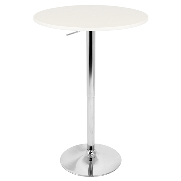 "Arthur 27"" White Adjustable Bar Table"