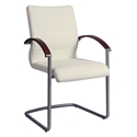 August Modern Arm Chair in Off White and Walnut